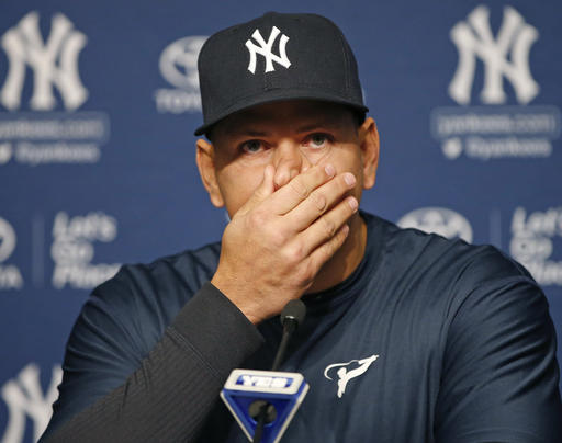 <div class='meta'><div class='origin-logo' data-origin='AP'></div><span class='caption-text' data-credit='AP'>Alex Rodriguez pauses during a news conference, Sunday, Aug. 7, 2016, in New York, after announcing that Friday, Aug. 12, will be his last game as a player.</span></div>
