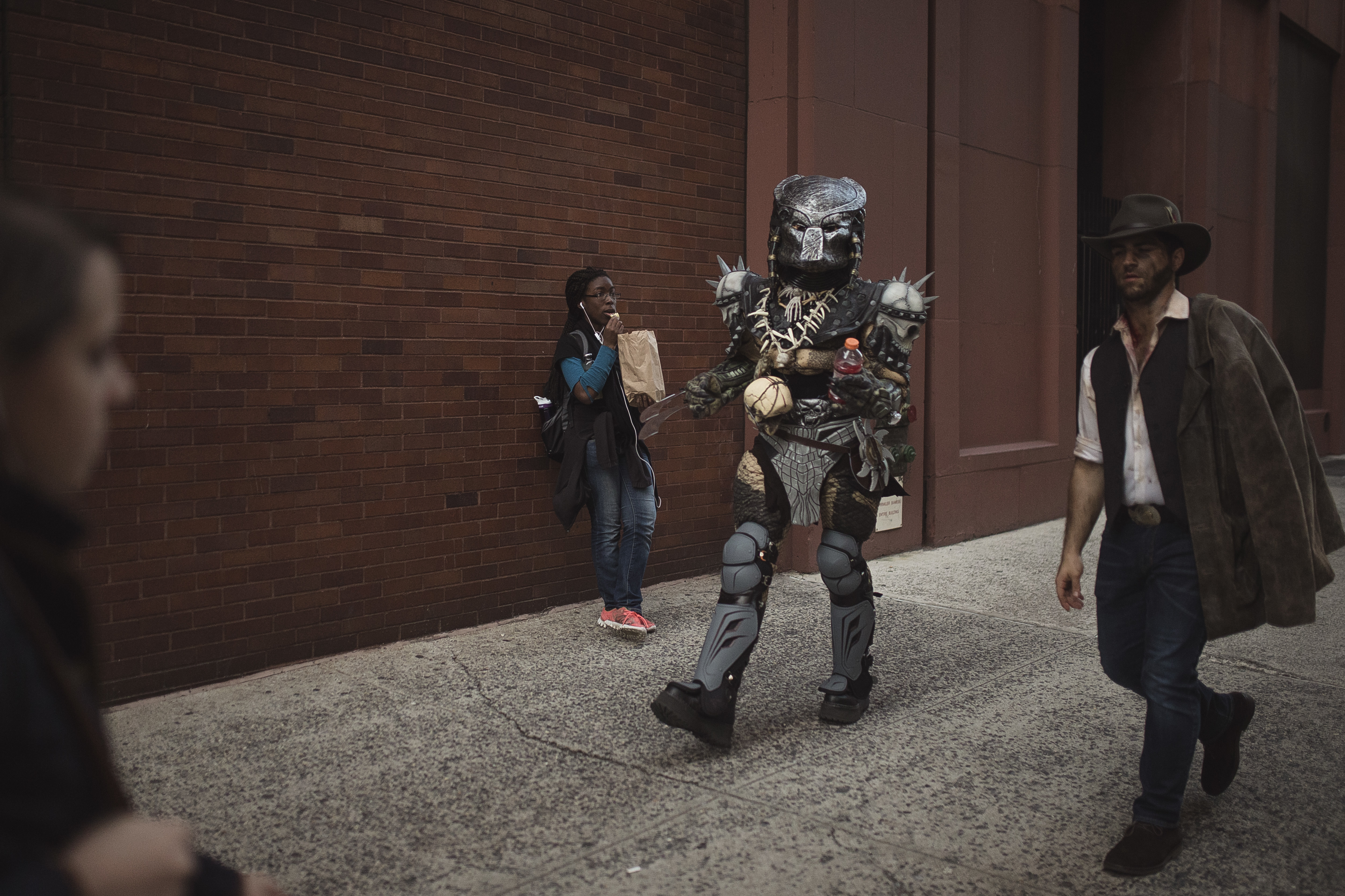 """<div class=""""meta image-caption""""><div class=""""origin-logo origin-image none""""><span>none</span></div><span class=""""caption-text"""">People wearing costumes walk near Washington Square Park before the Greenwich Village Halloween Parade in New York, Monday, Oct. 31, 2016. (AP Photo/Andres Kudacki)</span></div>"""