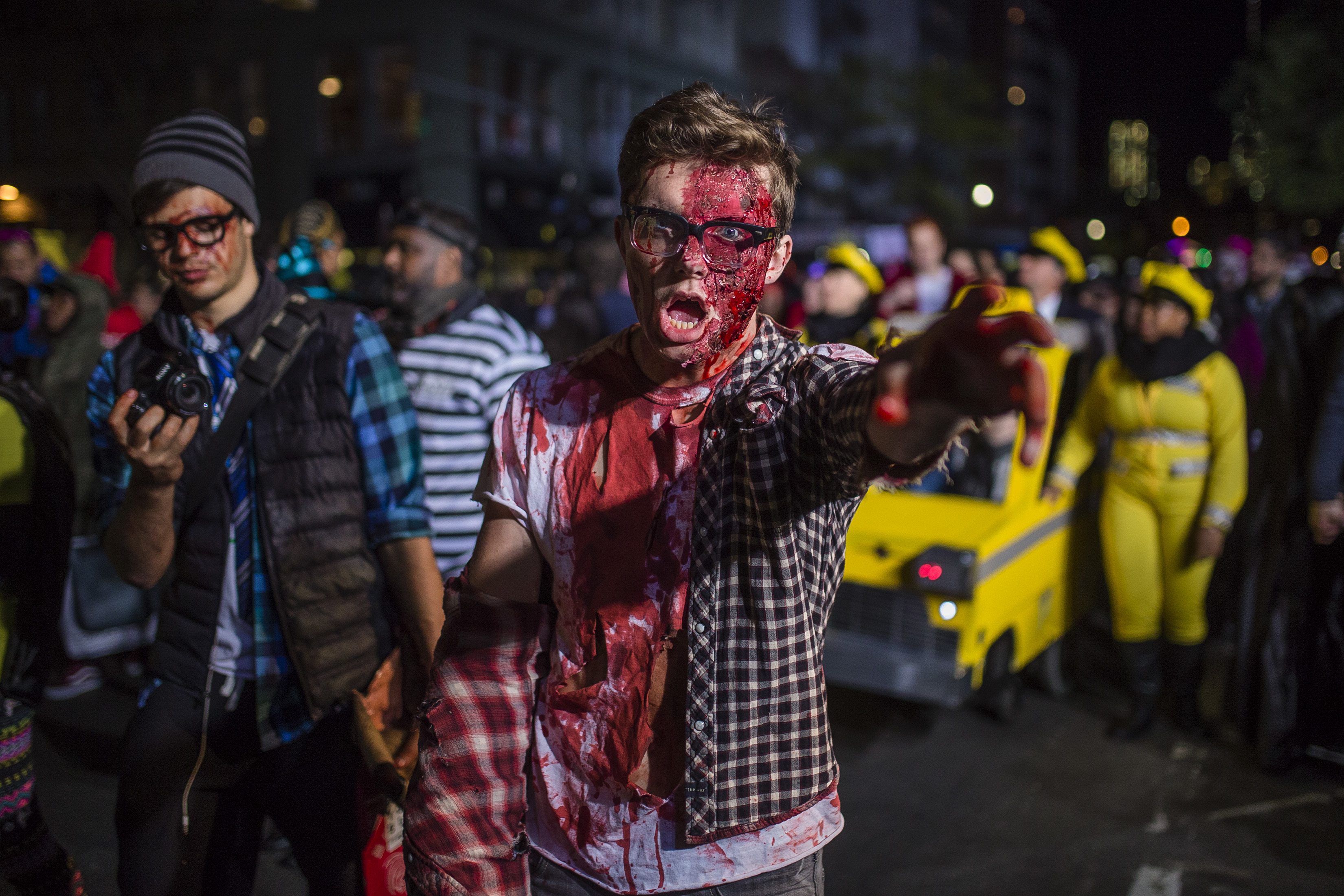 """<div class=""""meta image-caption""""><div class=""""origin-logo origin-image none""""><span>none</span></div><span class=""""caption-text"""">A reveler performs as he marches during the Greenwich Village Halloween Parade in New York, Monday, Oct. 31, 2016. (AP Photo/Andres Kudacki)</span></div>"""