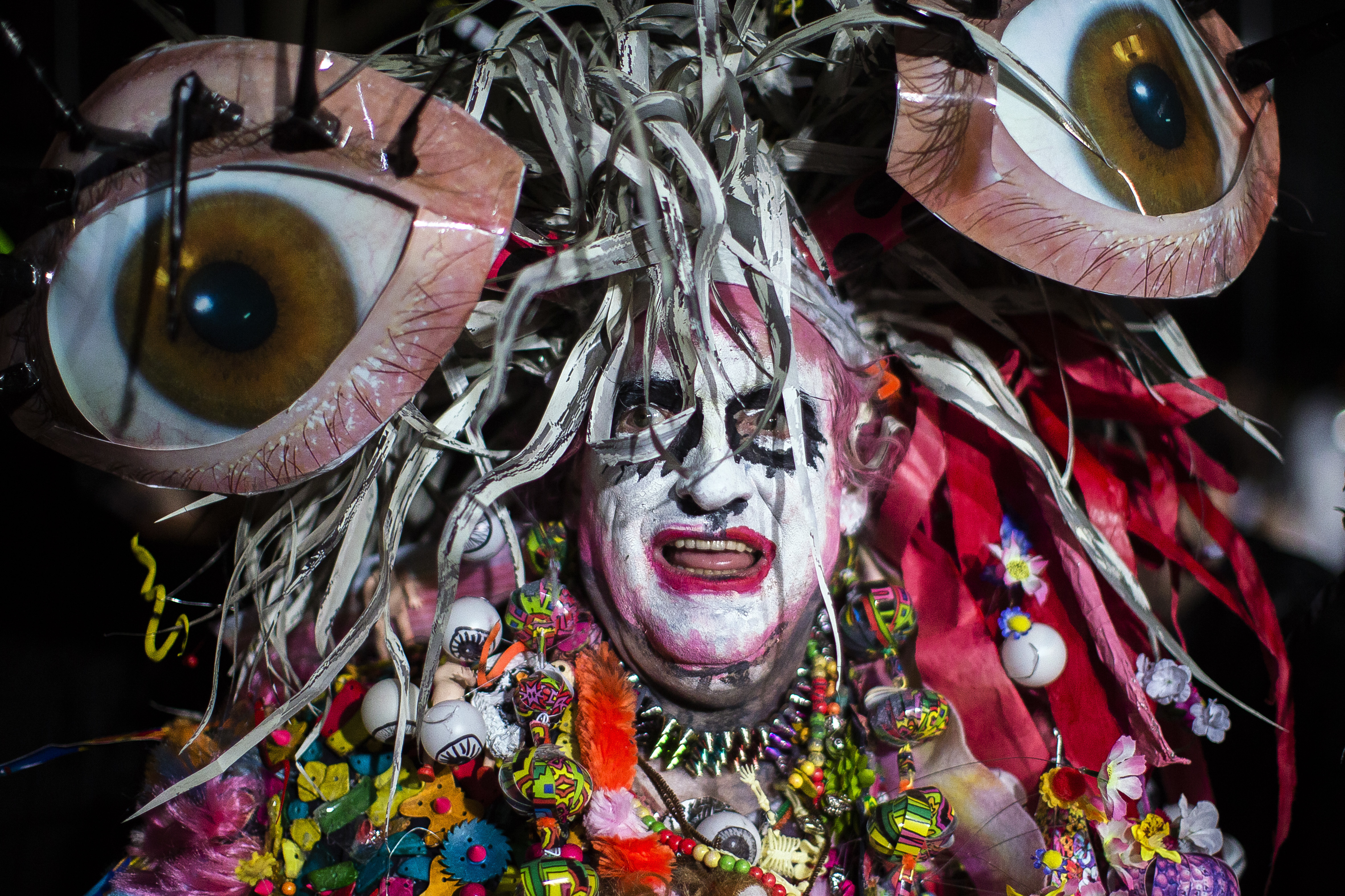 """<div class=""""meta image-caption""""><div class=""""origin-logo origin-image none""""><span>none</span></div><span class=""""caption-text"""">A reveler poses for a pictures as he marches during the Greenwich Village Halloween Parade in New York, Monday, Oct. 31, 2016. (AP Photo/Andres Kudacki)</span></div>"""