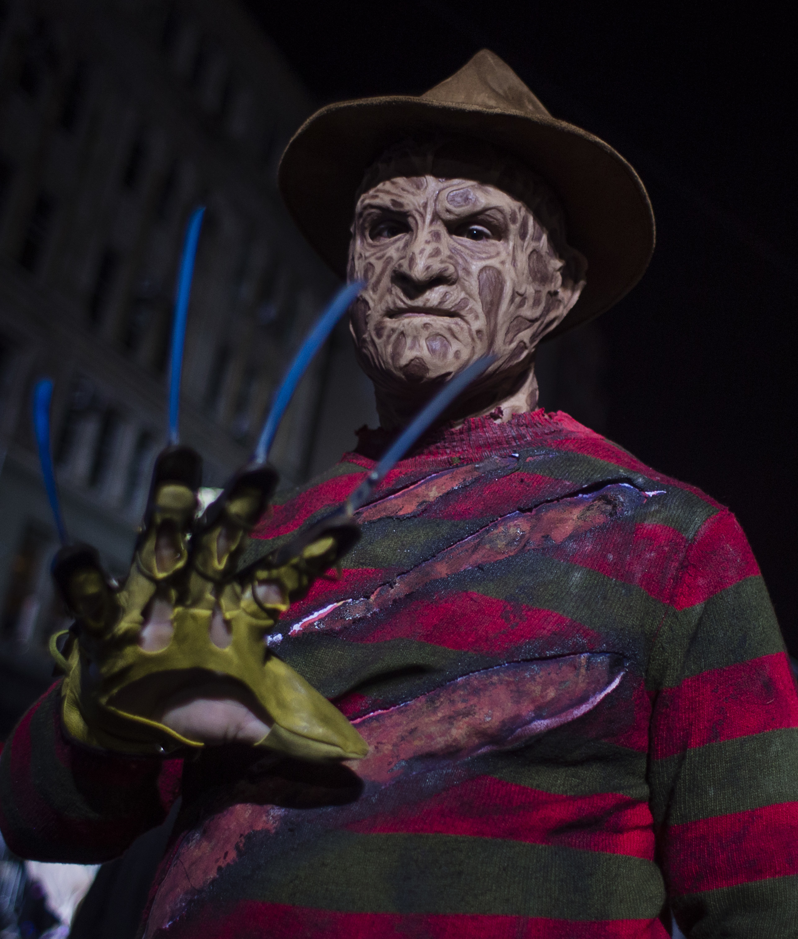 """<div class=""""meta image-caption""""><div class=""""origin-logo origin-image none""""><span>none</span></div><span class=""""caption-text"""">A reveler performes as he marches during the Greenwich Village Halloween Parade in New York, Monday, Oct. 31, 2016. (AP Photo/Andres Kudacki)</span></div>"""