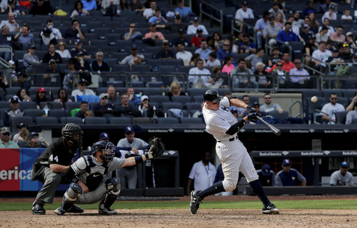 "<div class=""meta image-caption""><div class=""origin-logo origin-image none""><span>none</span></div><span class=""caption-text"">New York Yankees' Aaron Judge connects for a two-run home run against the Tampa Bay Rays during the seventh inning, Wednesday, April 12, 201 (AP Photo/Julie Jacobson)</span></div>"