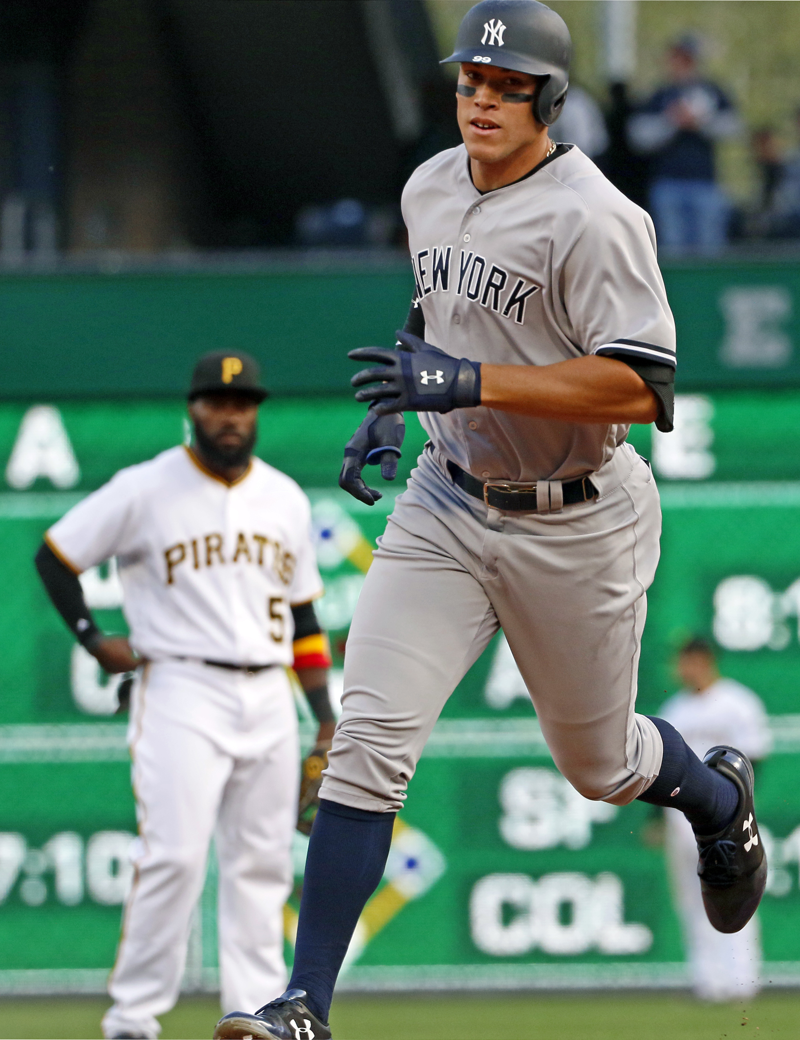 "<div class=""meta image-caption""><div class=""origin-logo origin-image ap""><span>AP</span></div><span class=""caption-text"">New York Yankees' Aaron Judge rounds second past after hitting a 460 foot home run off in Pittsburgh, Saturday, April 22, 2017. (Gene J. Puskar)</span></div>"
