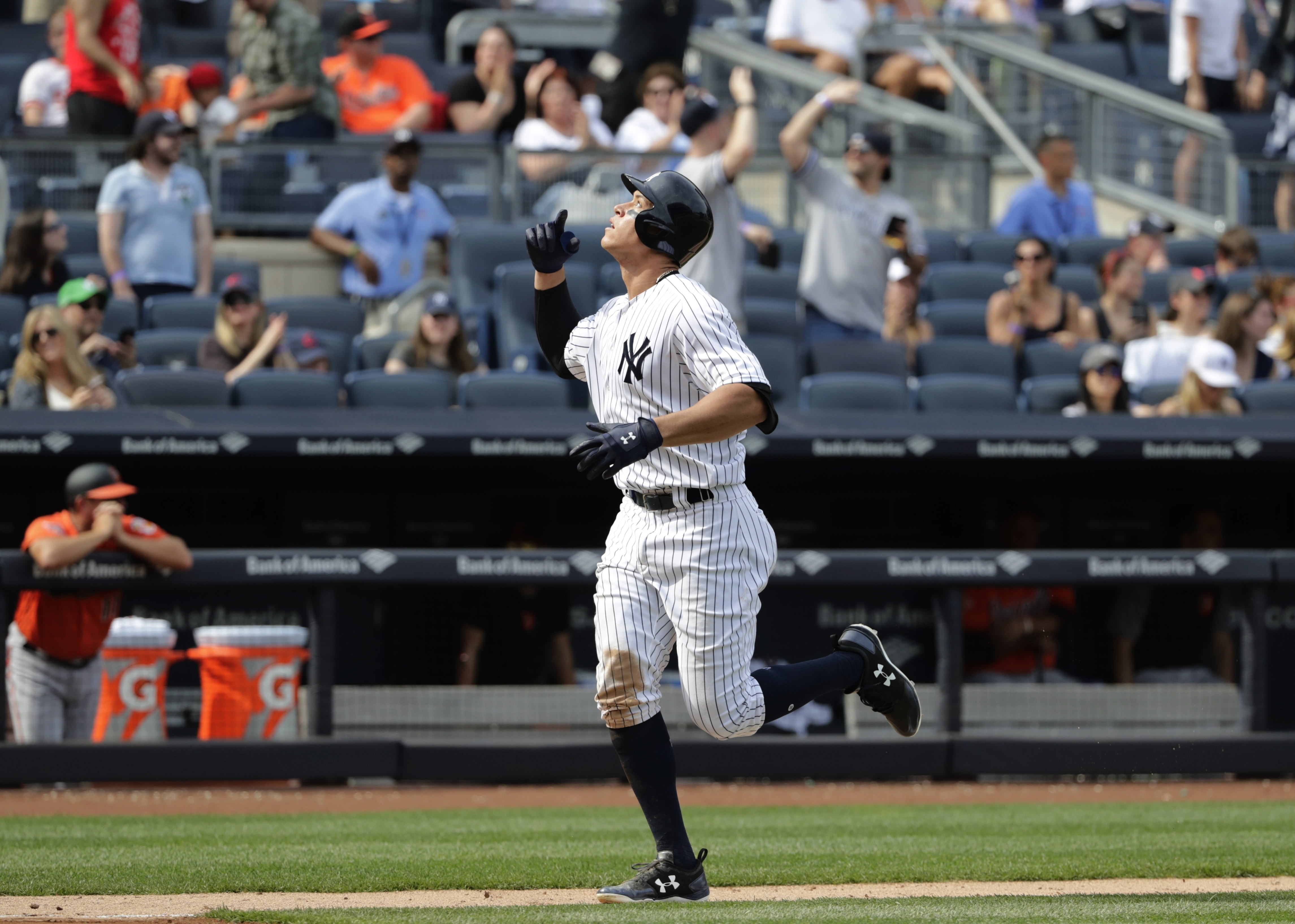 "<div class=""meta image-caption""><div class=""origin-logo origin-image ap""><span>AP</span></div><span class=""caption-text"">Aaron Judge gestures as he runs the bases after hitting a 435 foot home run against the Baltimore Orioles Saturday, April 29, 2017, in New York. (Frank Franklin II)</span></div>"