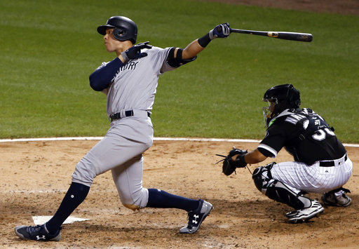 "<div class=""meta image-caption""><div class=""origin-logo origin-image none""><span>none</span></div><span class=""caption-text"">Yankees' Aaron Judge watches his two-run home run during the sixth inning against the Chicago White Sox, Wednesday, June 28, 2017, in Chicago. (AP Photo/Nam Y. Huh)</span></div>"