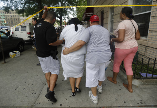 <div class='meta'><div class='origin-logo' data-origin='none'></div><span class='caption-text' data-credit='AP Photo/Julio Cortez'>A woman is escorted by officers in plainclothes near the Bronx Lebanon Hospital Center after reports of a shooting, Friday, June 30, 2017, in New York.</span></div>