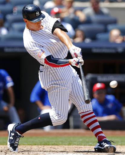 "<div class=""meta image-caption""><div class=""origin-logo origin-image none""><span>none</span></div><span class=""caption-text"">New York Yankees' Aaron Judge hits a solo home run during the fourth inning of a baseball game against the Toronto Blue Jays in New York, Tuesday, July 4, 2017. (AP Photo/Kathy Willens)</span></div>"