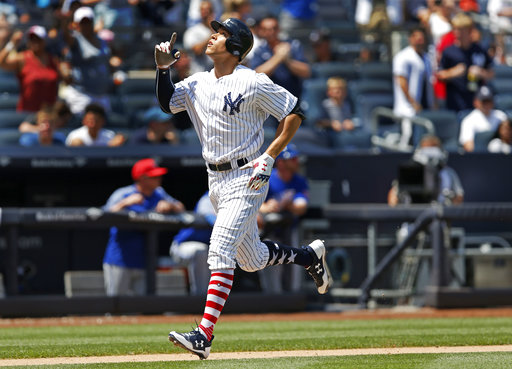 "<div class=""meta image-caption""><div class=""origin-logo origin-image none""><span>none</span></div><span class=""caption-text"">Aaron Judge gestures after hitting a solo home run during the fourth inning of a baseball game against the Toronto Blue Jays in New York, Tuesday, July 4, 2017. (AP Photo/Kathy Willens)</span></div>"