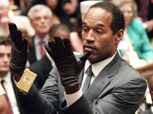 <div class='meta'><div class='origin-logo' data-origin='none'></div><span class='caption-text' data-credit='AP Photo/Vince Bucci, Pool, File'>Simpson holds up his hands before the jury after putting on a new pair of gloves similar to the infamous bloody gloves during his double-murder trial in Los Angeles.</span></div>