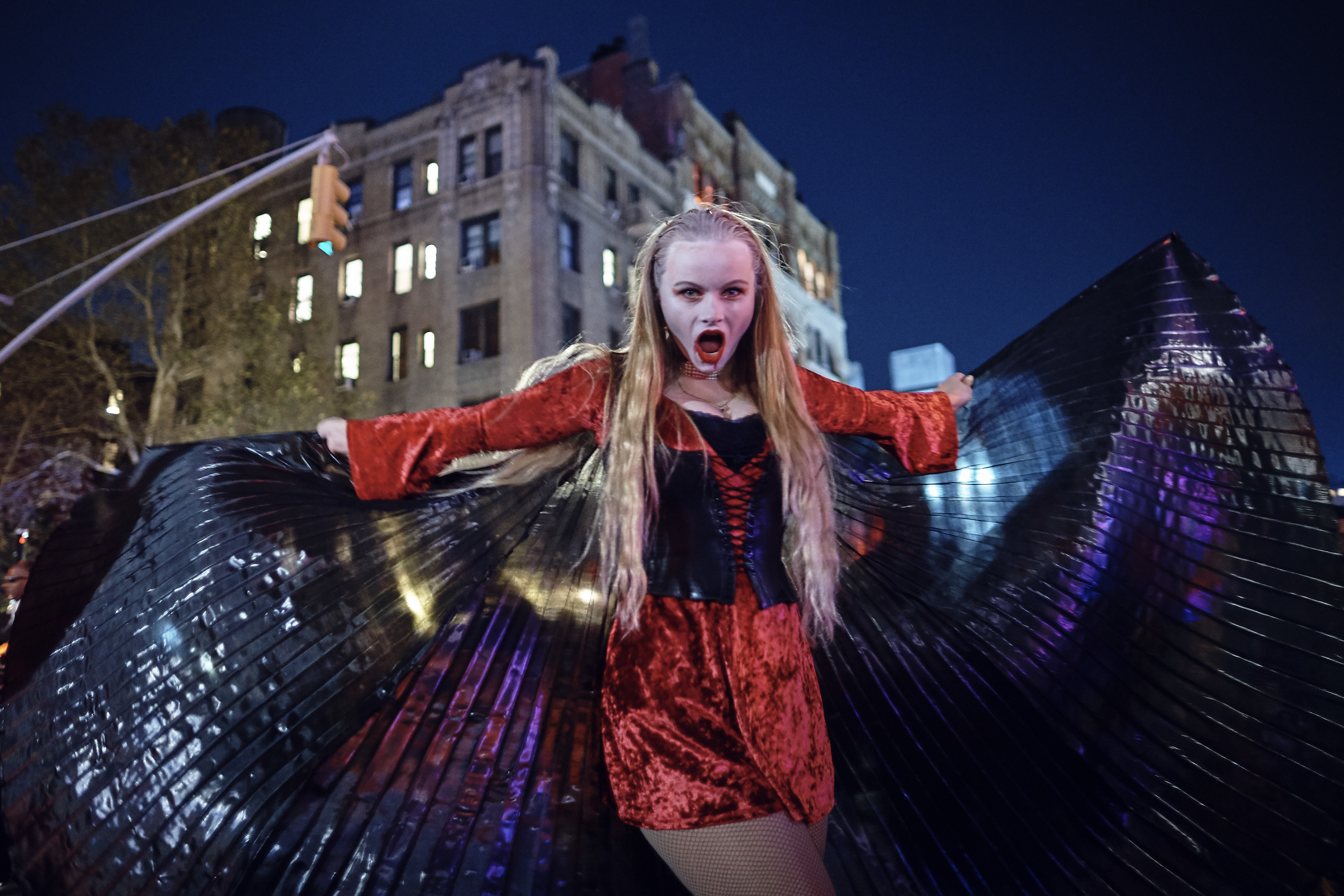 """<div class=""""meta image-caption""""><div class=""""origin-logo origin-image none""""><span>none</span></div><span class=""""caption-text"""">A reveler performs during the Greenwich Village Halloween Parade, Tuesday, Oct. 31, 2017, in New York. (AP Photo/Andres Kudacki)</span></div>"""