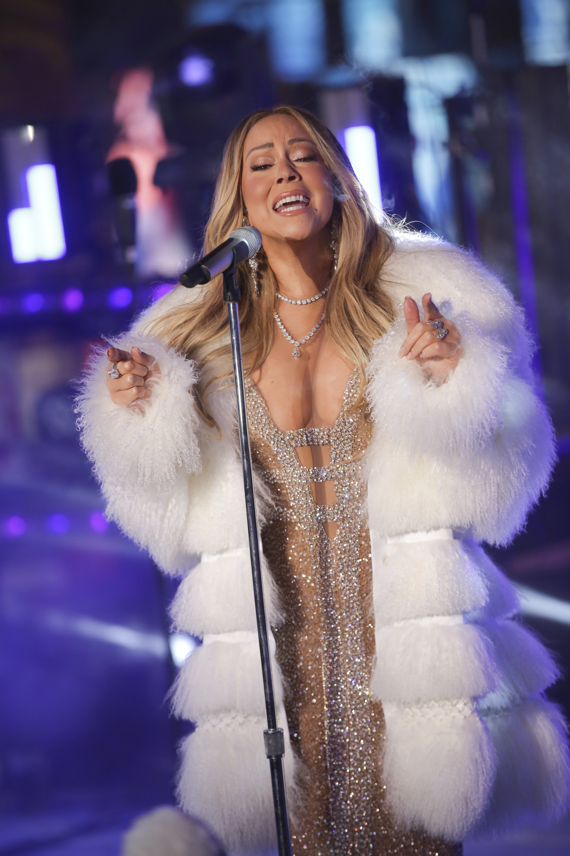 <div class='meta'><div class='origin-logo' data-origin='AP'></div><span class='caption-text' data-credit='Brent N. Clarke/Invision/AP'>Mariah Carey performs on stage at the New Year's Eve celebration in Times Square on Sunday, Dec. 31, 2017, in New York. (Photo by Brent N. Clarke/Invision/AP)</span></div>