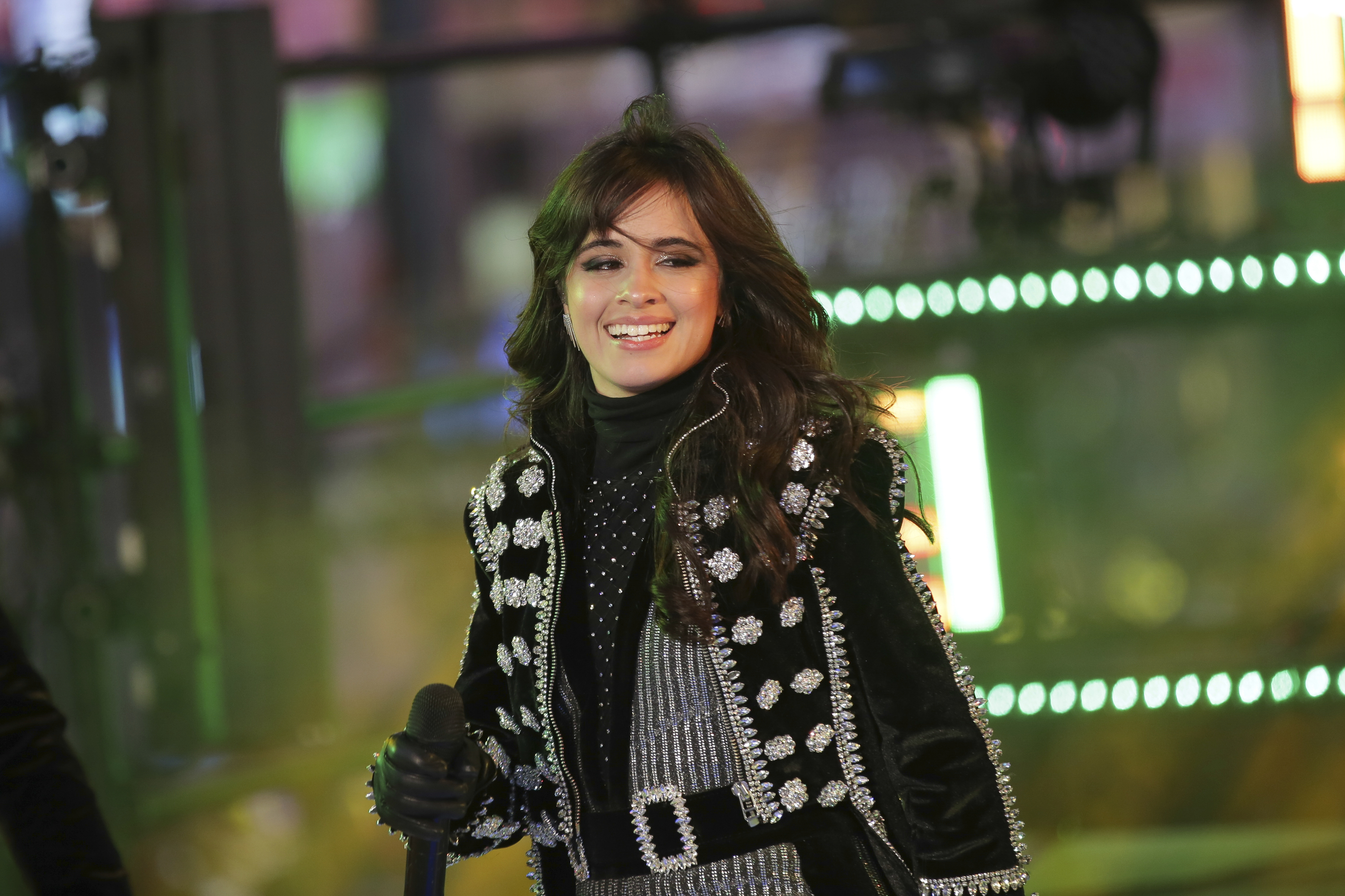 <div class='meta'><div class='origin-logo' data-origin='AP'></div><span class='caption-text' data-credit='Brent N. Clarke/Invision/AP'>Camila Cabello performs on stage at the New Year's Eve celebration in Times Square on Sunday, Dec. 31, 2017, in New York. (Photo by Brent N. Clarke/Invision/AP)</span></div>
