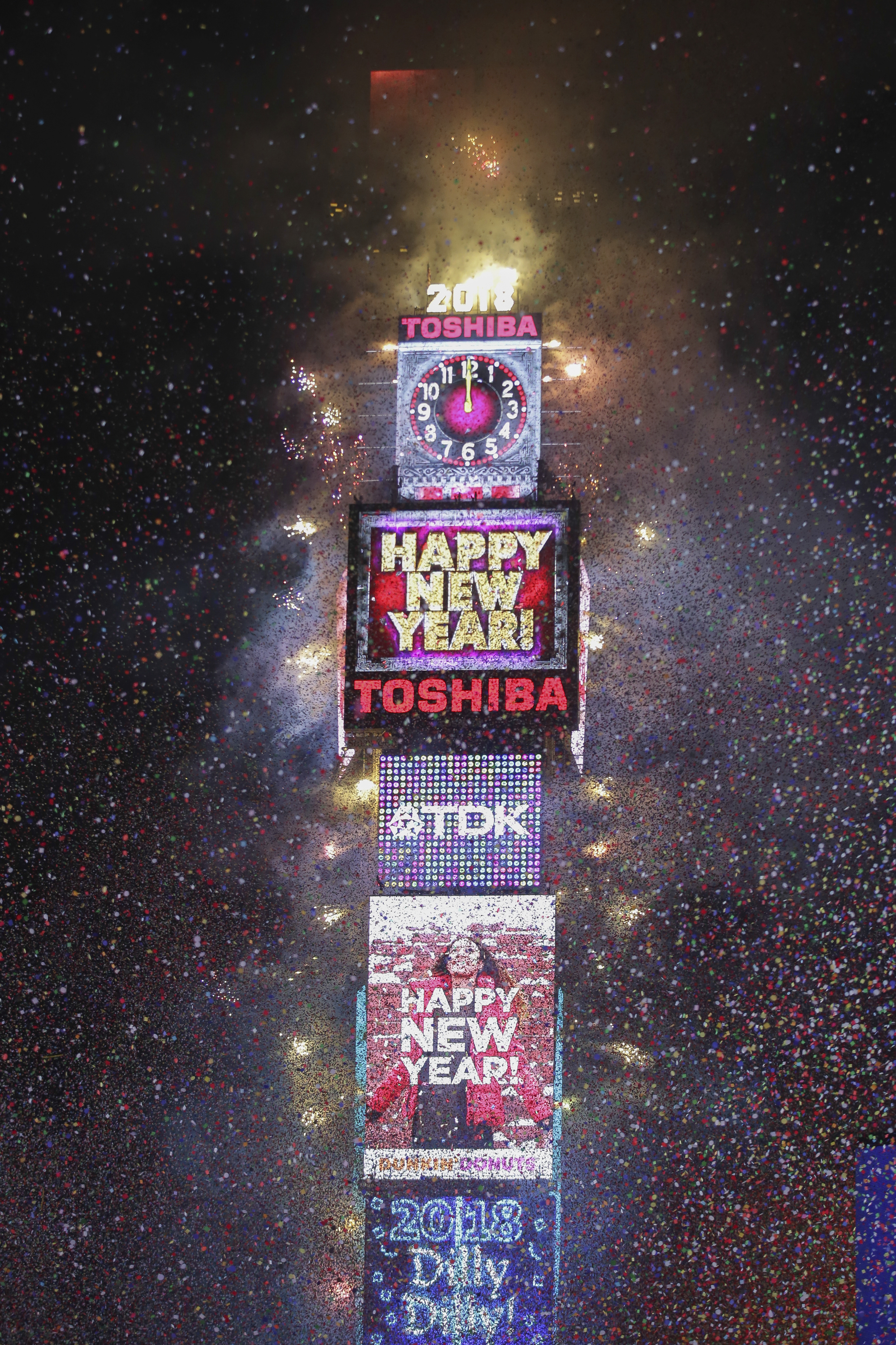 <div class='meta'><div class='origin-logo' data-origin='AP'></div><span class='caption-text' data-credit='Brent N. Clarke/Invision/AP'>The ball drops during the New Year's Eve celebration in Times Square on Sunday, Dec. 31, 2017, in New York. (Photo by Brent N. Clarke/Invision/AP)</span></div>