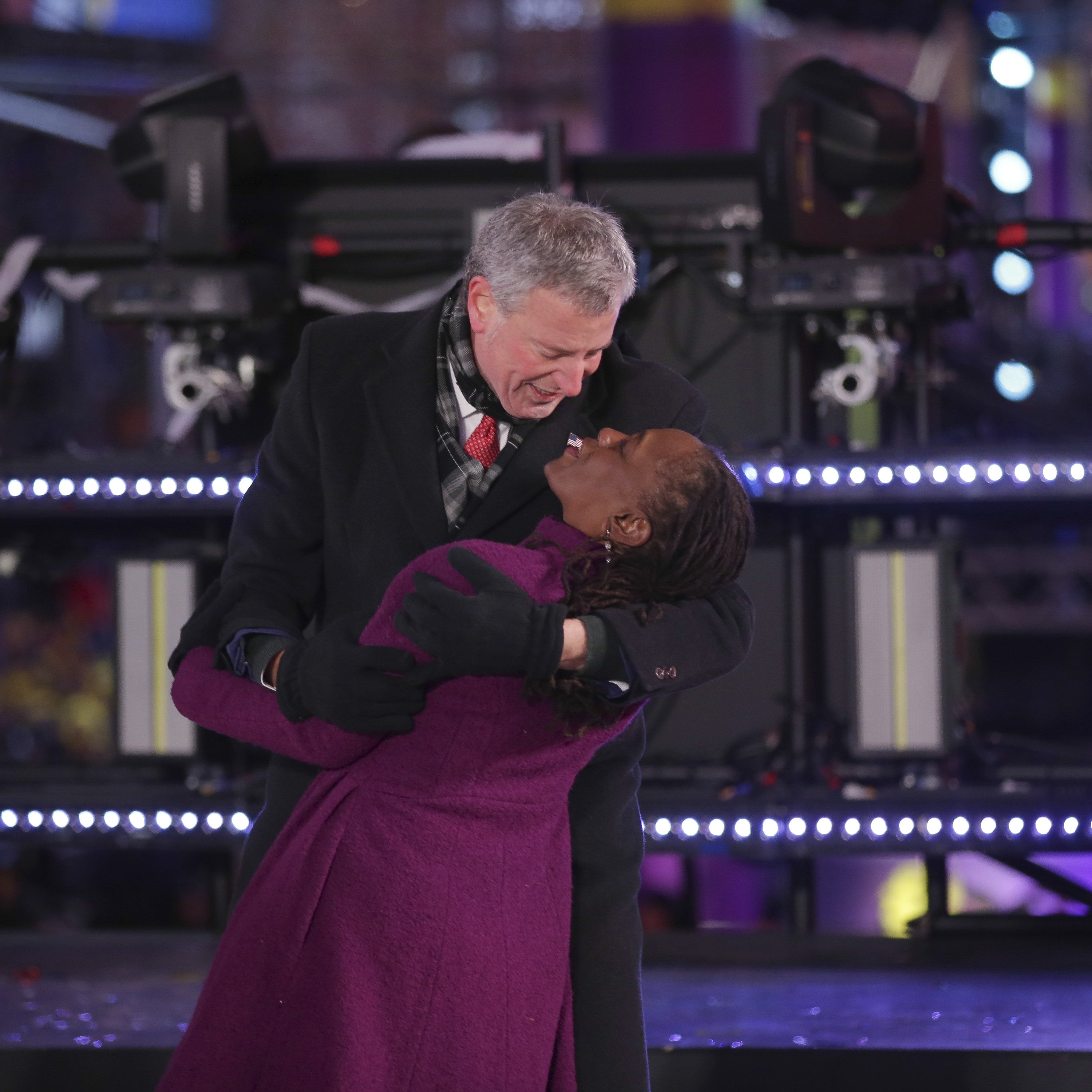 <div class='meta'><div class='origin-logo' data-origin='AP'></div><span class='caption-text' data-credit='Brent N. Clarke/Invision/AP'>New York City Mayor Bill de Blasio, left, and Chirlane McCray dance on stage at the New Year's Eve celebration in Times Square on Sunday, Dec. 31, 2017, in New York.</span></div>