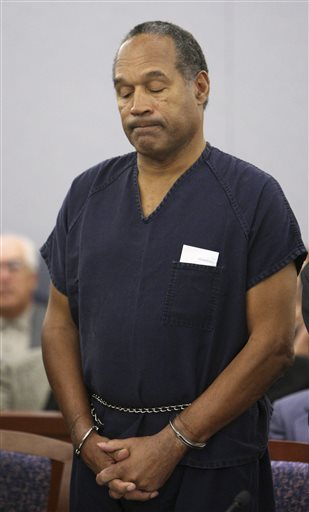 <div class='meta'><div class='origin-logo' data-origin='none'></div><span class='caption-text' data-credit='AP Photo/Isaac Brekken, Pool, File, Pool'>O.J. Simpson appears during his sentencing hearing at the Clark County Regional Justice Center in Las Vegas in 2008.</span></div>