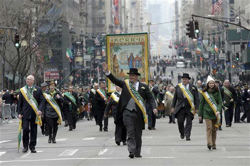 <div class='meta'><div class='origin-logo' data-origin='none'></div><span class='caption-text' data-credit='AP Photo/ Mary Altaffer'>A group from County Kerry, Ireland, marches up Fifth Ave. during the St. Patrick's Day Parade, Tuesday, March 17, 2015, in New York.  (AP Photo/Mary Altaffer)</span></div>