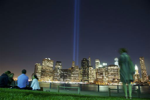 "<div class=""meta image-caption""><div class=""origin-logo origin-image none""><span>none</span></div><span class=""caption-text"">In this Friday, Sept. 6, 2013 photo, people in Brooklyn Bridge Park gather to watch a test of the Tribute in Light rising from the lower Manhattan skyline in New York. (AP Photo/ Mark Lennihan)</span></div>"