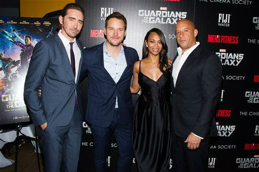 """<div class=""""meta image-caption""""><div class=""""origin-logo origin-image """"><span></span></div><span class=""""caption-text"""">Lee Pace, from left, Chris Pratt, Zoe Saldana and Vin Diesel attend a screening of """"Guardians of the Galaxy"""" in New York. (Charles Sykes/Invision/AP)</span></div>"""