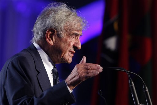 "<div class=""meta image-caption""><div class=""origin-logo origin-image ap""><span>AP</span></div><span class=""caption-text"">Nobel Peace Prize laureate and Holocaust survivor Elie Wiesel speaks at the 20th anniversary of the United States Holocaust Memorial Museum. ((AP Photo/Charles Dharapak))</span></div>"