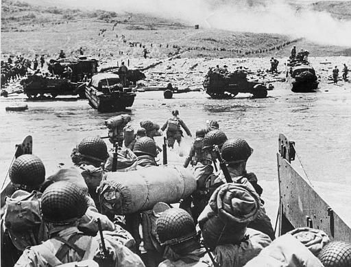 <div class='meta'><div class='origin-logo' data-origin='none'></div><span class='caption-text' data-credit='AP Photo/ XNBG'>American soldiers and supplies arrive on the shore of the French coast of German-occupied Normandy during the Allied D-Day invasion on June 6, 1944 in World War II.</span></div>
