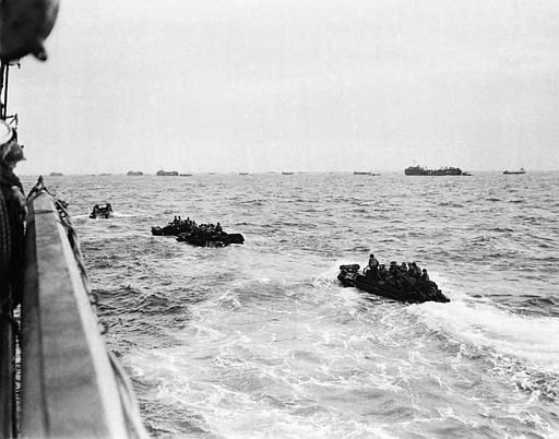 "<div class=""meta image-caption""><div class=""origin-logo origin-image none""><span>none</span></div><span class=""caption-text"">Bouncing about on the rough waters of the Channel, these landing craft loaded with assault troops head for the shore of the French coast early in the dawn of D-Day, June 6, 1944.  (AP Photo/ XJFM RCC)</span></div>"