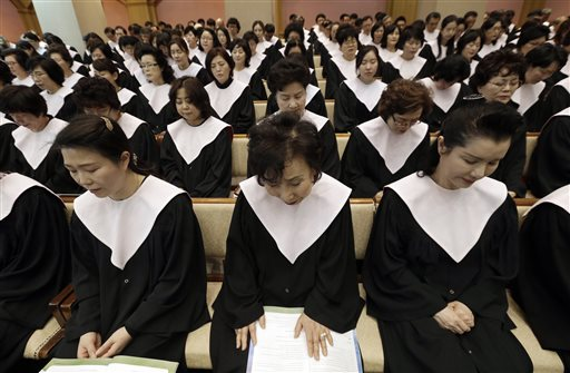 <div class='meta'><div class='origin-logo' data-origin='none'></div><span class='caption-text' data-credit='AP'>South Korean Christians prayat Kwanglim Church in Seoul, South Korea. Participants prayed for peace and the nuclear-free Korean peninsula. (AP Photo/Ahn Young-joon)</span></div>