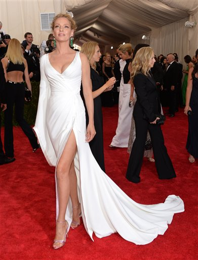 """<div class=""""meta image-caption""""><div class=""""origin-logo origin-image ap""""><span>AP</span></div><span class=""""caption-text"""">Uma Thurman arrives at The Metropolitan Museum of Art's Costume Institute benefit gala on Monday, May 4, 2015, in New York. (Evan Agostini/Invision/AP)</span></div>"""