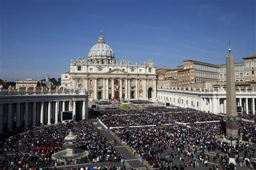 <div class='meta'><div class='origin-logo' data-origin='none'></div><span class='caption-text' data-credit='AP'>Faithful gather in St. Peter's Square during the Easter mass celebrated by Pope Francis at the Vatican, Sunday, March 27, 2016. (AP Photo/Gregorio Borgia)</span></div>