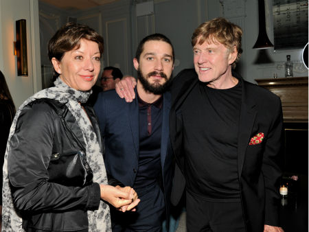 <div class='meta'><div class='origin-logo' data-origin='none'></div><span class='caption-text' data-credit='AP Photo/ Evan Agostini'>Shia LaBeouf, center, with actor Robert Redford and his wife, Sibylle Szaggars, at a party for &#34;The Company You Keep&#34;  on April 1, 2013.</span></div>