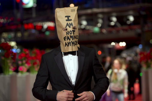 Actor Shia LaBeouf poses for photographers, with a paper bag over his head that says 'I am not famous anymore', on Feb. 9, 2014. <span class=meta>AP Photo/ Axel Schmidt</span>