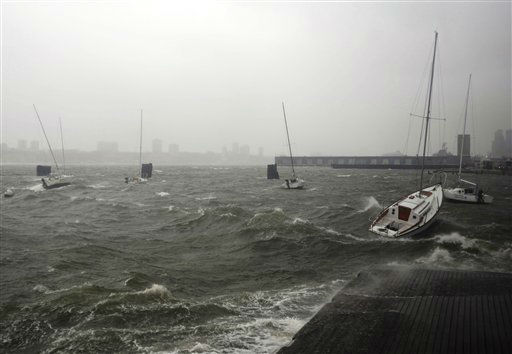 <div class='meta'><div class='origin-logo' data-origin='none'></div><span class='caption-text' data-credit='AP Photo/ Jeffrey Furticella'>Sailboats rock in choppy water at a dock along the Hudson River Greenway during a storm, Monday, Oct. 29, 2012, in New York.</span></div>