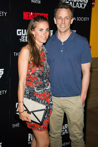 """<div class=""""meta image-caption""""><div class=""""origin-logo origin-image """"><span></span></div><span class=""""caption-text"""">Alexi Meyers and Seth Meyers attend a screening of """"Guardians of the Galaxy"""" in New York (Charles Sykes/Invision/AP)</span></div>"""