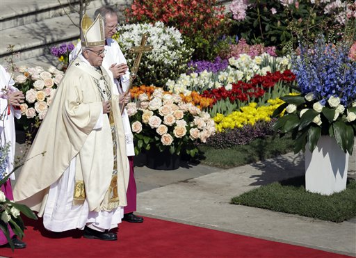 <div class='meta'><div class='origin-logo' data-origin='none'></div><span class='caption-text' data-credit='AP'>Pope Francis walks with his pastoral staff as he celebrates the Easter mass, in St. Peter's Square, at the Vatican, Sunday, March 27, 2016. (AP Photo/Gregorio Borgia)</span></div>