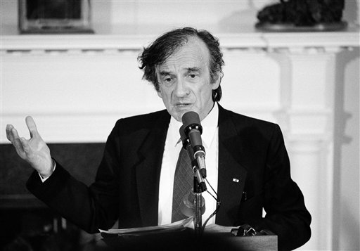 "<div class=""meta image-caption""><div class=""origin-logo origin-image ap""><span>AP</span></div><span class=""caption-text"">Holocaust survivor Elie Wiesel gestures while talking on April 20, 1985 during a White House in Washington. (AP)</span></div>"