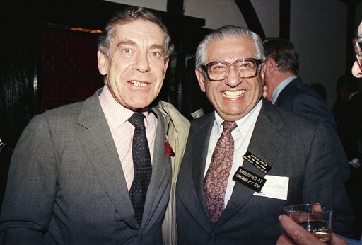 <div class='meta'><div class='origin-logo' data-origin='AP'></div><span class='caption-text' data-credit='AP Photo/David Bookstaver'>Morley Safer poses with Barry Zorthian, chief spokesman for the U.S. Mission in Saigon from 1964-1968, at a reunion of correspondents who covered the Vietnam War, on Nov. 22, 1986.</span></div>