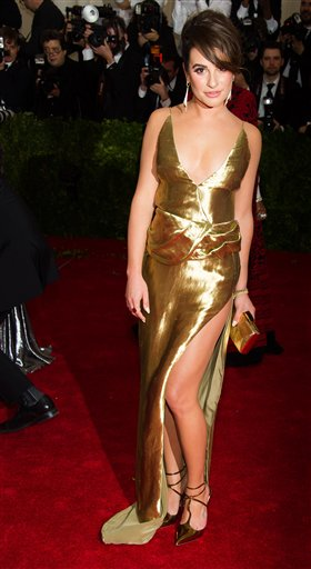 """<div class=""""meta image-caption""""><div class=""""origin-logo origin-image ap""""><span>AP</span></div><span class=""""caption-text"""">Lea Michele attends The Metropolitan Museum of Art's Costume Institute benefit gala celebrating """"Charles James: Beyond Fashion"""" on Monday, May 5, 2014, in New York. (Charles Sykes/Invision/AP)</span></div>"""