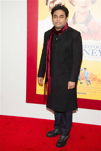 "Composer A.R. Rahman attends ""The Hundred-Foot Journey"" premiere on Monday, August 4, 2014 in New York. (Photo by Charles Sykes/Invision/AP)"