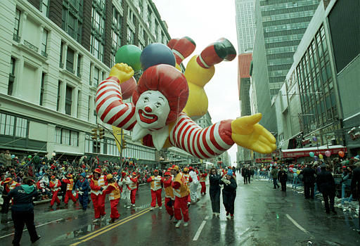 <div class='meta'><div class='origin-logo' data-origin='none'></div><span class='caption-text' data-credit=''>Ronald McDonald cruises over spectators on Broadway during the 63rd annual Macy's Thanksgiving Day Parade in New York City, Thursday, Nov. 24, 1989.</span></div>