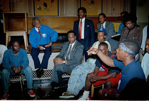"<div class=""meta image-caption""><div class=""origin-logo origin-image none""><span>none</span></div><span class=""caption-text"">New York City Mayor David Dinkins and Police Commissioner Lee Brown listen to a man during a meeting with about 50 black youths at P.S. 167 in Crown Heights, Aug. 22, 1991. (AP Photo/David Burns)</span></div>"