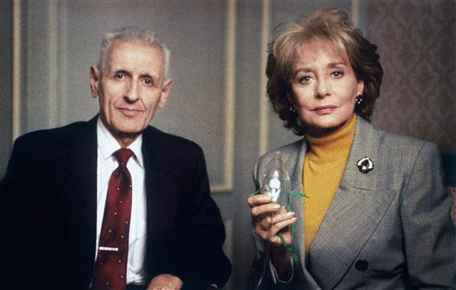 Barbara Walters poses with Dr. Jack Kevorkian, of Royal Oak, Mich., with a face mask connected to a tank in Dearborn, Mich., Wednesday, March 11, 1993 for a segment of 20/20. <span class=meta></span>