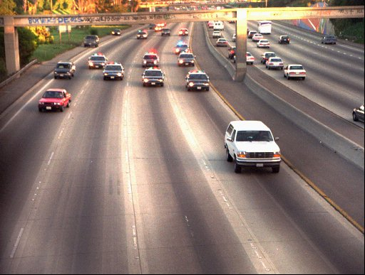 <div class='meta'><div class='origin-logo' data-origin='none'></div><span class='caption-text' data-credit='AP Photo/Joseph Villarin'>Al Cowlings and O.J. Simpson led authorities on a chase in his white Ford Bronco after Simpson was charged with two counts of murder in the deaths of his ex-wife and her friend.</span></div>