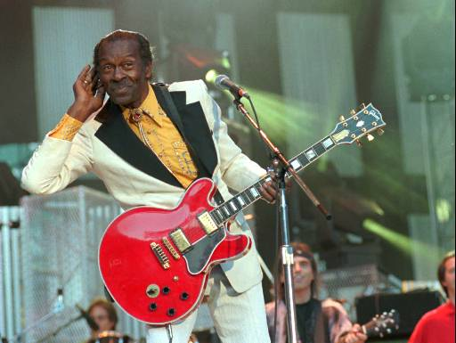 "<div class=""meta image-caption""><div class=""origin-logo origin-image ap""><span>AP</span></div><span class=""caption-text"">Performer Chuck Berry listens for the crowd to sing to him during the performance of his hit song ""Johnny B. Goode"" at the Concert for the Hall of Fame in Cleveland, Sept. 2, 1995. (AP)</span></div>"