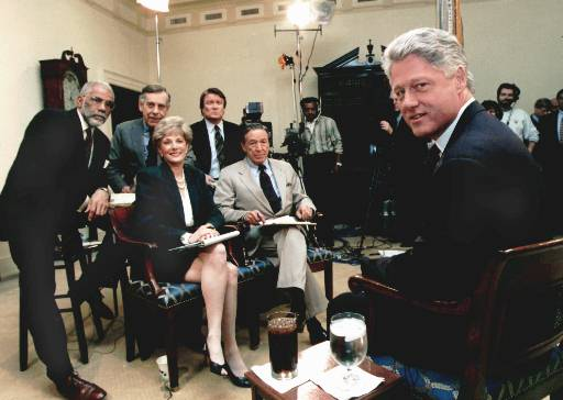 <div class='meta'><div class='origin-logo' data-origin='AP'></div><span class='caption-text' data-credit='AP Photo/White House'>President Clinton takes a break while being interviewed by the cast of the CBS Television show 60 Minutes Friday, Dec. 8, 1995 at the White House.</span></div>