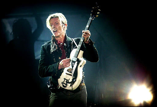 "<div class=""meta image-caption""><div class=""origin-logo origin-image none""><span>none</span></div><span class=""caption-text"">Rock legend David Bowie performs on stage at Forum, in Copenhagen, Denmark, Tuesday, Oct. 7, 2003.  (AP Photo/Nils Meilvang, Nordfoto) (AP Photo/ NILS MEILVANG)</span></div>"