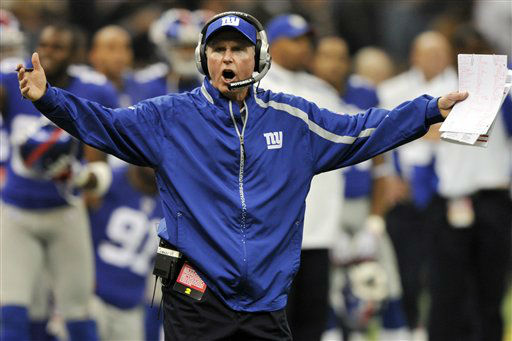 "<div class=""meta image-caption""><div class=""origin-logo origin-image none""><span>none</span></div><span class=""caption-text"">Giants head coach Tom Coughlin shouts his dismay concerning an official's call during game against the New Orleans Saints in 2009. (AP Photo/ Bill Feig)</span></div>"