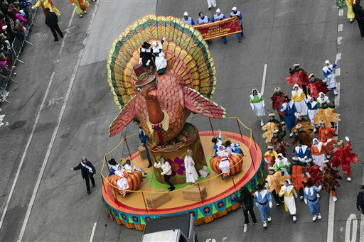 <div class='meta'><div class='origin-logo' data-origin='none'></div><span class='caption-text' data-credit='Photo/Ben Hider'>A thanksgiving turkey float. (Photo by Ben Hider/Invision/AP)</span></div>