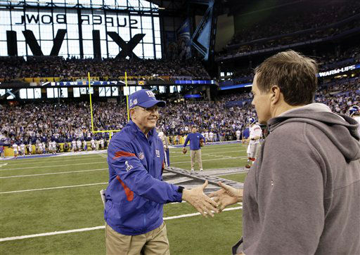 "<div class=""meta image-caption""><div class=""origin-logo origin-image none""><span>none</span></div><span class=""caption-text"">Giants head coach Tom Coughlin, left, greets New England Patriots head coach Bill Belichick, right, before the NFL Super Bowl XLVI (AP Photo/ David J. Phillip)</span></div>"