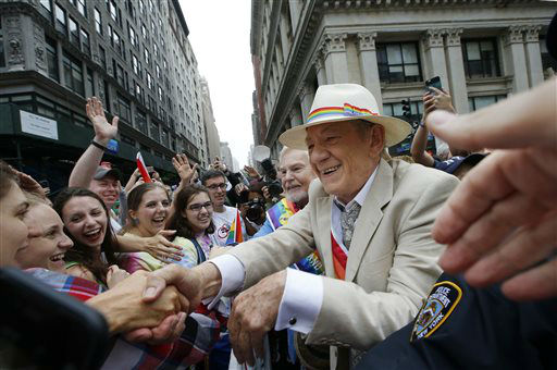 "<div class=""meta image-caption""><div class=""origin-logo origin-image none""><span>none</span></div><span class=""caption-text"">British actor Sir Ian McKellan, one of two grand marshals, greets fans before the start of the Heritage Pride March in New York.  (AP Photo/ Kathy Willens)</span></div>"