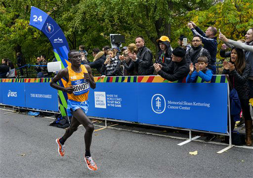 <div class='meta'><div class='origin-logo' data-origin='none'></div><span class='caption-text' data-credit='AP Photo/ Craig Ruttle'>Stanley Biwott of Kenya leads the New York City Marathon at mile 24 in New York Sunday, Nov. 1, 2015. Biwott went on to win.</span></div>