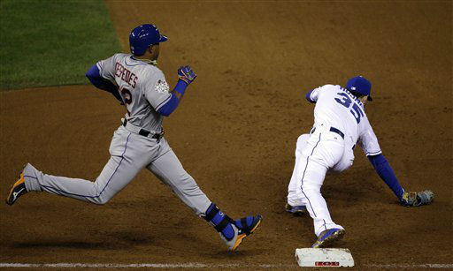 "<div class=""meta image-caption""><div class=""origin-logo origin-image none""><span>none</span></div><span class=""caption-text"">New York Mets' Yoenis Cespedes is safe at first as Kansas City Royals' Eric Hosmer (35) is off the bag during the fourth inning of Game 2. (AP Photo/ David Goldman)</span></div>"